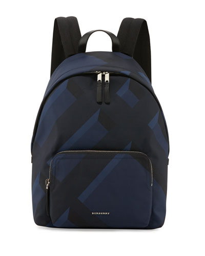 Leather-Trim 3D-Check Backpack, Navy
