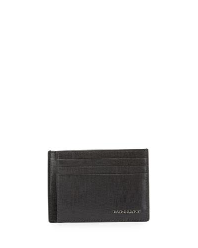 London Bicolor Leather Card Case, Charcoal/Black