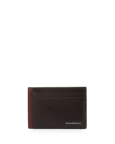London Bicolor Leather Card Case, Burgundy/Brown
