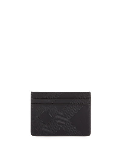 Embossed Check Leather Utility Card Case, Black