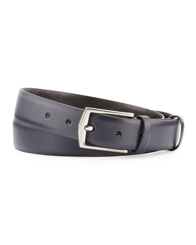London Collection Leather Belt, Navy