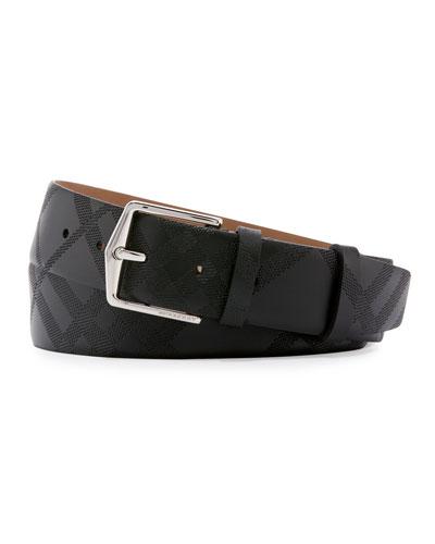 Embossed Check Leather Belt, Black