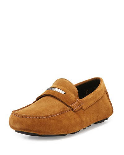 Silversone Suede Penny Loafer, Caramel