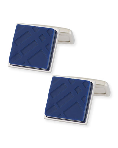 Enamel Check Square Cuff Links, Lapis Blue