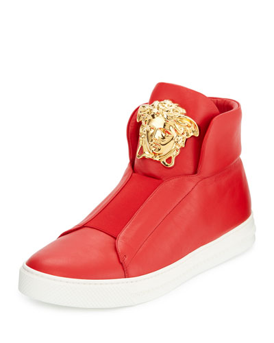 Palazzo Idol Leather High-Top Sneaker, Red