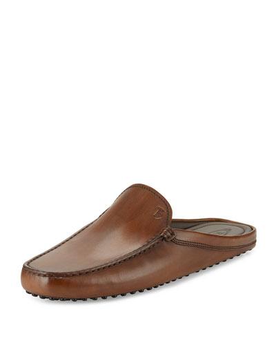 Gommini Benson Burnished-Leather Slipper, Brown