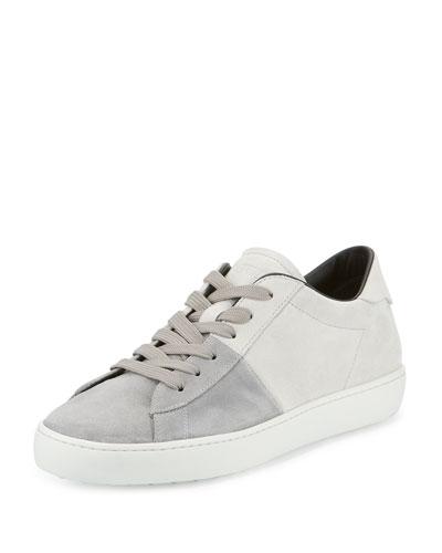 Cassetta Men's Two-Tone Low-Top Suede Sneaker, Gray/White