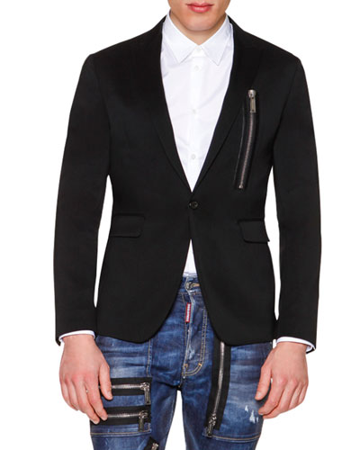 One-Button Wool Blazer with Zip-Detail, Black