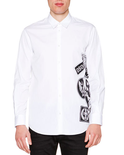 Side Logo-Graphic Long-Sleeve Shirt, White
