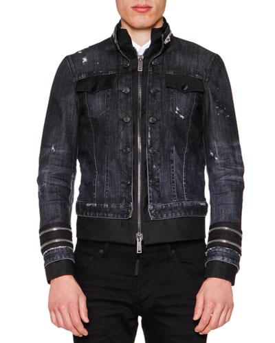 Zipper-Trim Stretch Denim Jacket, Black