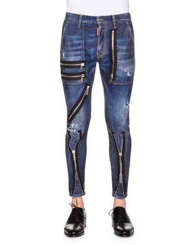 Zipper-Trim Slim-Fit Denim Jeans, Blue