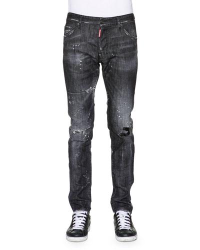 Cool Guy Distressed Washed Denim Jeans, Black