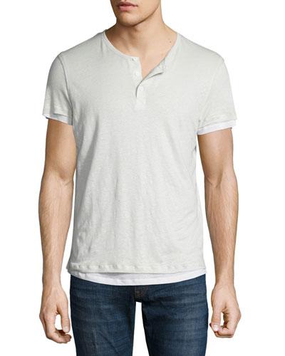 Double-Layer Short-Sleeve Henley T-Shirt, Beige