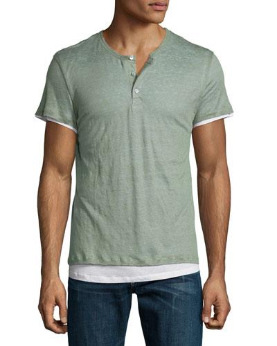 Double-Layer Short-Sleeve Henley T-Shirt, Green