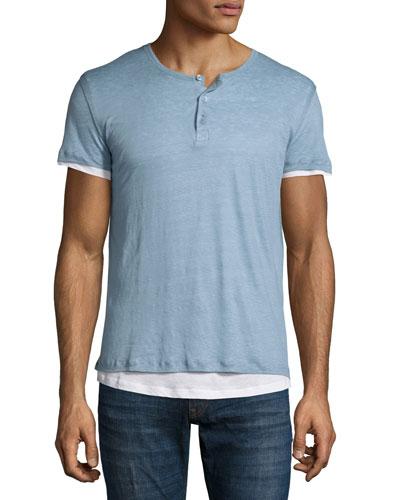 Double-Layer Short-Sleeve Henley T-Shirt, Blue