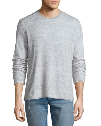 Tripp Melange Long-Sleeve Crewneck Shirt, Light Gray
