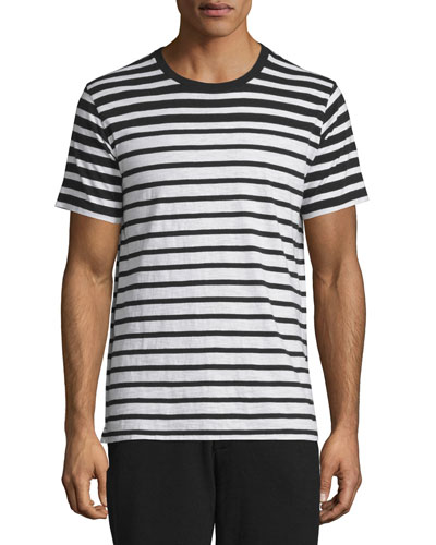 Colorblock Striped Short-Sleeve Tee, Black Stripe