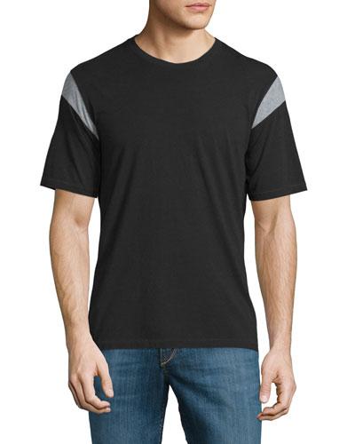 Tobin Contrast-Panel Short-Sleeve Tee, Black