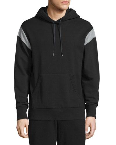 Tobin Contrast-Shoulder Long-Sleeve Hoodie, Black