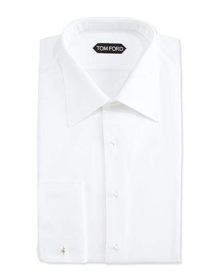 TOM FORD Textured Woven Tuxedo Shirt, White