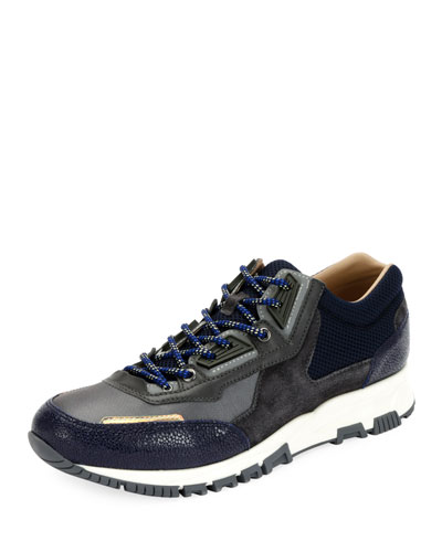 Colorblock Mesh Trainer Sneaker, Blue/Gray