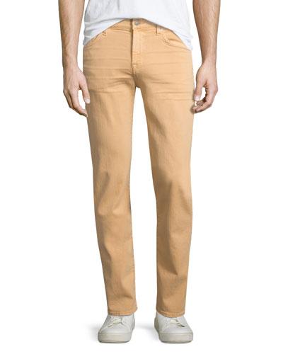 Slimmy Squiggle-Pocket Denim Jeans, Apricot Peach