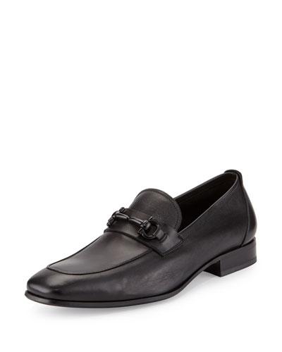 Men's Soft Calfskin Gancini Loafer, Black