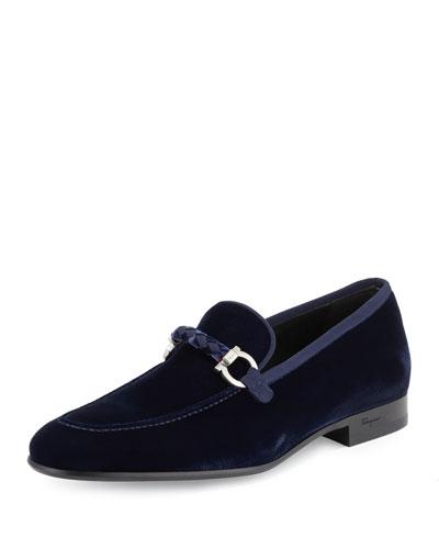 Lord 2 Velvet Slip-On Loafer, Blue Marine