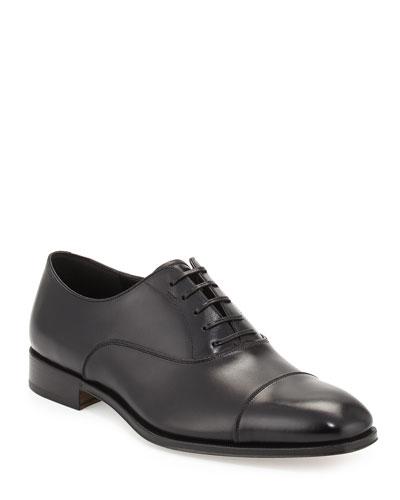 Men's Calfskin Cap-Toe Oxford, Black