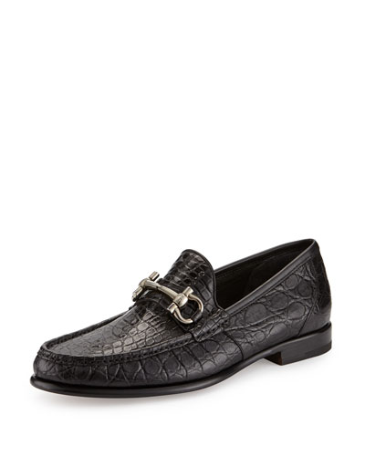 Crocodile Gancini Loafer, Black