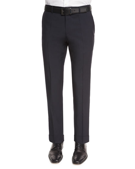 BOSS Genesis Flat-Front Slim Trousers, Navy
