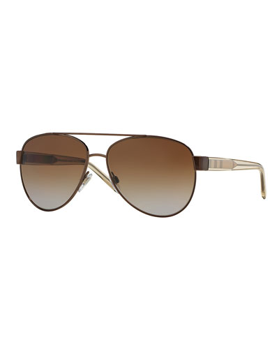 Men's Check-Temple Metal Aviator Sunglasses, Brown