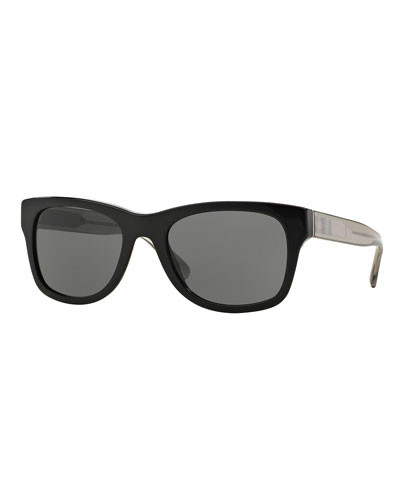 Square Sunglasses with Check Detail, Black