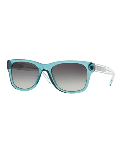 Plastic Square Sunglasses with Check Detail, Teal