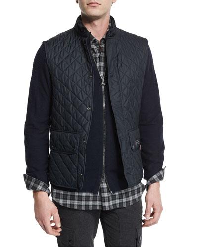 Lightweight Quilted Tech Vest, Dark Navy