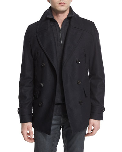 Corringham Double-Breasted Wool Coat, Dark Ink