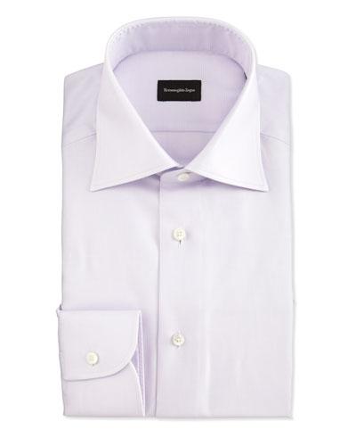 Textured Glen Plaid Woven Dress Shirt, Lavender