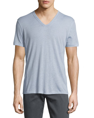 Wisteria Short-Sleeve V-Neck T-Shirt, Purple