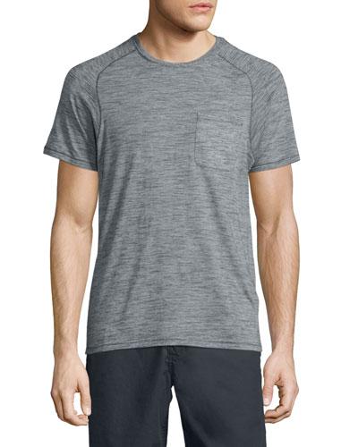 Micro-Stripe Short-Sleeve T-Shirt, Gray