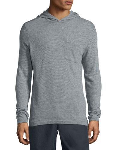 Textured-Stripe Long-Sleeve Hoodie, White/Black