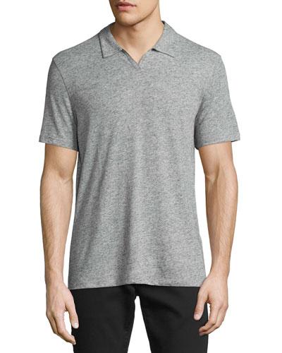 Short-Sleeve Johnny-Collar Polo Shirt, Gray