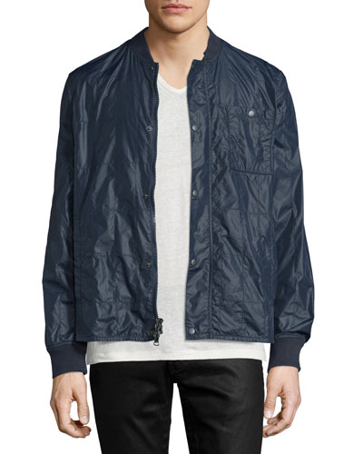 Quilted Snap-Front Nylon Jacket, Blue