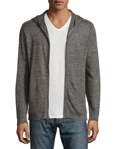 Melange Zip-Front Hooded Linen Sweater, Black Metallic