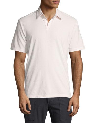 Short-Sleeve Cotton Jersey Polo Shirt, Pink