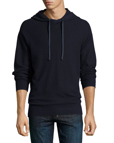 Waffle-Knit Cotton Pullover Hoodie, Navy