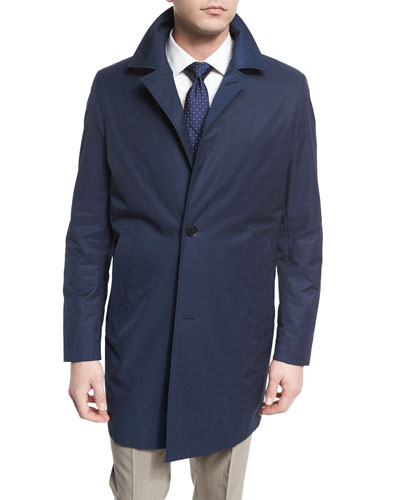 Single-Breasted Raincoat, Navy