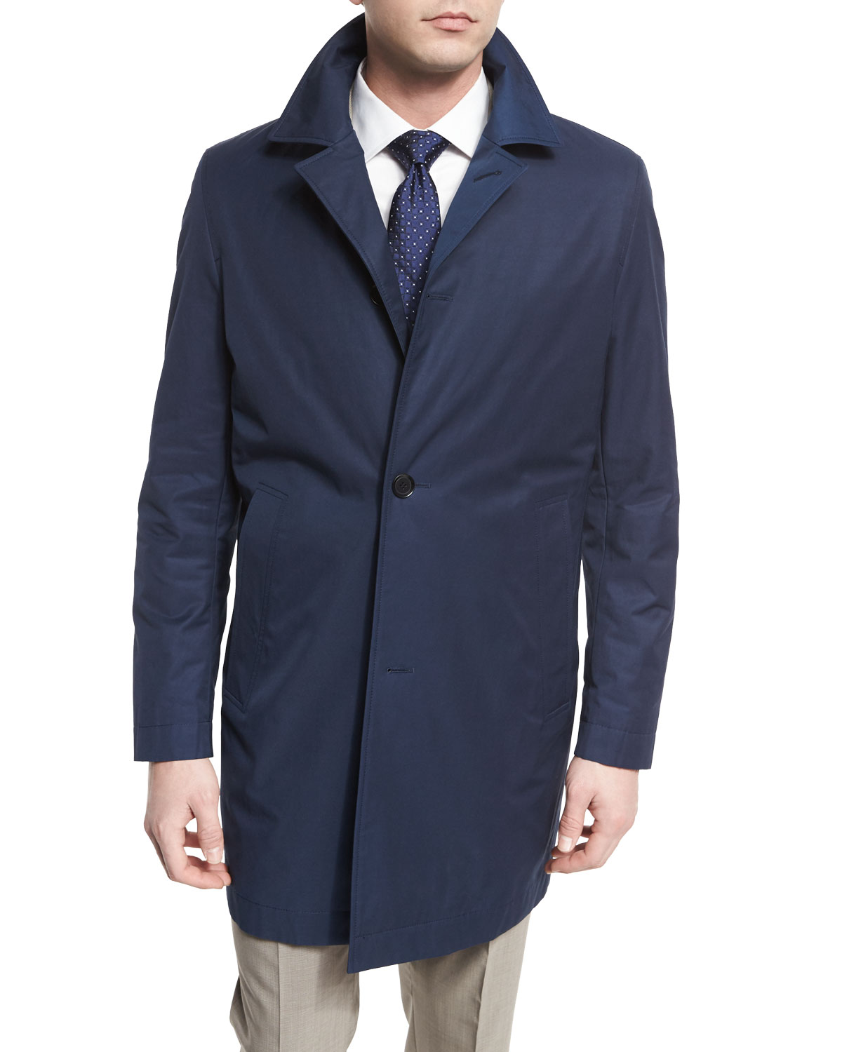 Single-Breasted Raincoat, Navy