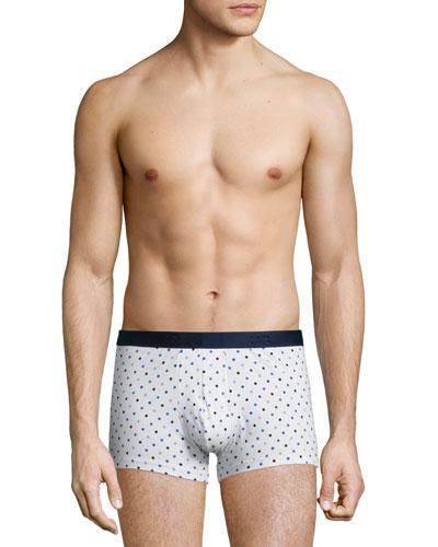 Dot-Print Hipster Boxer Briefs, White