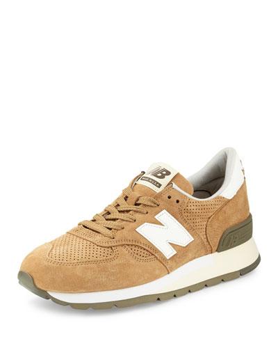 Heritage Perforated Suede Sneaker, Hemp/Angora