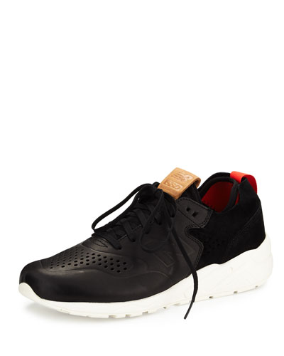 Men's 580 Deconstructed Leather-Suede Sneaker, Black/White